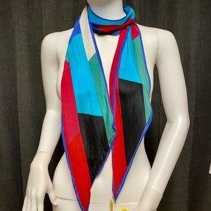 Vintage Oscar de la Renta color block silk scarf